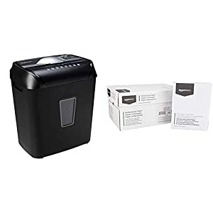 AmazonBasics 12-Sheet Cross-Cut Paper and Credit Card Home Office Shredder & 92 Bright Multipurpose Copy Paper – 8.5 x 11 Inches, 10 Ream Case (5,000 Sheets)