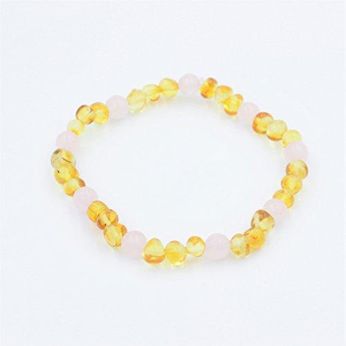 Wish Baltic Amber and Rose Quart Adult bracelet, pain relief bracelet,