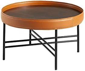 Hoge Kwaliteit Goedkoop Angel varken   ronde salontafel met notendeksel, ronde ring van rundleer, met frame van zwart staal, moderne stijl  3pWPvRr