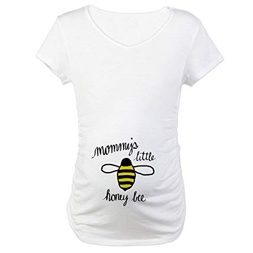 CafePress Mommy's Little Honey Bee Maternity T Shirt Cotton Maternity T-Shirt, Cute & Funny Pregnancy Tee White