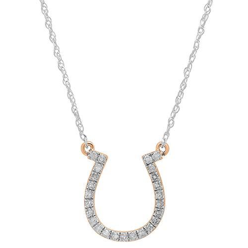 Dazzlingrock Collection 0.22 Carat (ctw) 14K Round Diamond Ladies Horseshoe Pendant 1/4 CT, Rose Gold