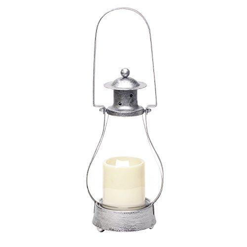 Decorative Hanging Lantern Outdoor/Indoor with Flameless Led candle ,15 inch,4 and 8 Timer, Antique silver ()