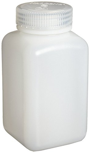 Nalgene 2114-0008 HDPE Wide Mouth Square Bottles with Polypropylene Screw Closures, 250ml Capacity (Case of (Nalgene Wide Mouth Square Storage)