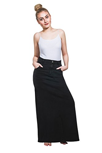 USKEES Fearne Long Denim Skirt - All Black Front Split Maxi Skirt Size 8-22 (Long Denim Skirt Size 8)