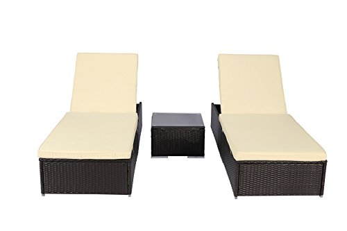 Outdoor Set Recliner (3PCS Polar Aurora Outdoor Recliner Chair Adjustable Patio Deck Backyard Lounge Beach Pool Coffee)