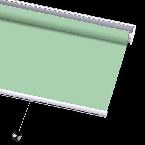PASSENGER PIGEON Cordless Thermal Insulated Roller Shades, Blackout Bathroom Roller Window Shades, Custom Made Oil Proof Water Proof UV Protection Kitchen Blinds,37 W x 72 L, Apple Green Shades