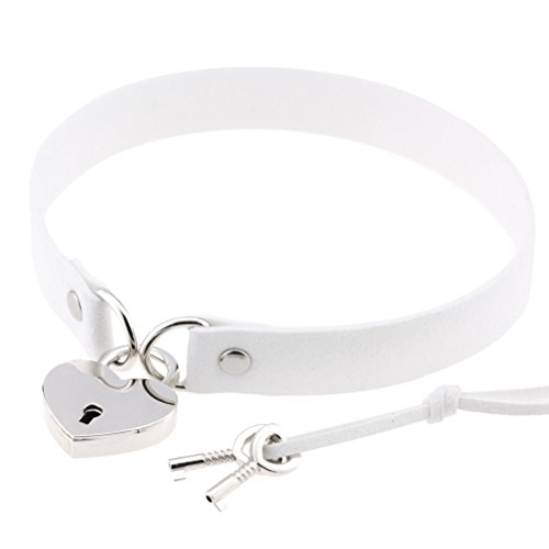 Krun Lock Faux Leather Choker Collar Necklace for Women Girls ()