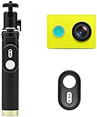 YI Action Camera Kit: Camera, Selfie Stick, & Bluetooth Remote - Lime Green