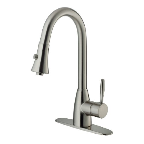 VIGO VG02013STK1 Stainless Steel Pull-Out Spray Kitchen Faucet with Deck Plate