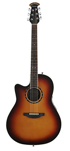 England Burst Guitar - Ovation Timeless Collection 6 String Acoustic-Electric Guitar Left, New England Burst Mid Depth Body L771AX-NEB
