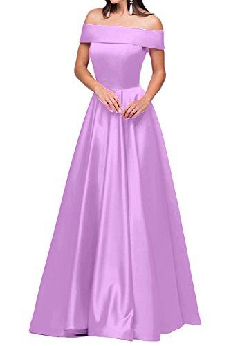 Linie U Festkleid Damen Modern Lang Abendkleid Promkleid Satin Ivydressing Ausschnitt A Partykleid Lila qgwCYY