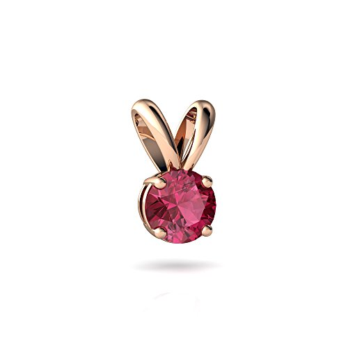 14kt Rose Gold Pink Tourmaline 6mm Round Solitaire Pendant