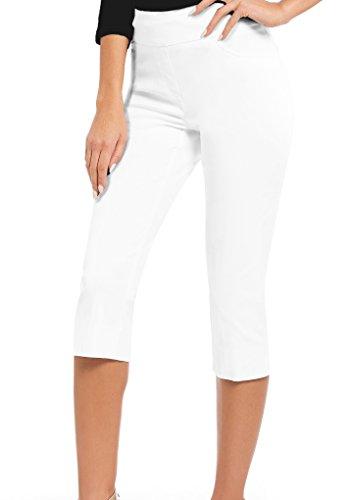 HyBrid & Company Women Stretch Pull On Business Millennium Capri Pants KQ44972 White XL