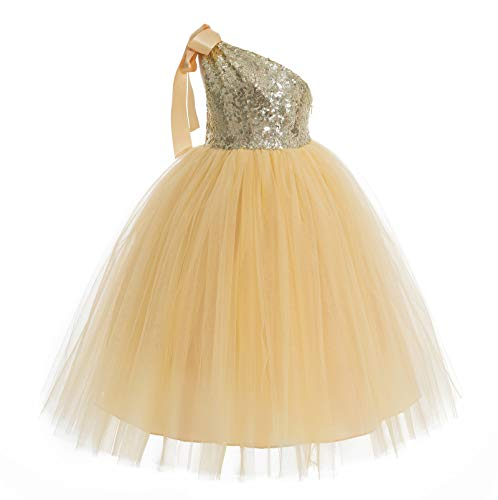 ekidsbridal One-Shoulder Sequin Tutu Flower Girl Dress Wedding Pageant Dresses Ball Gown Tutu Dresses 182 3 Gold