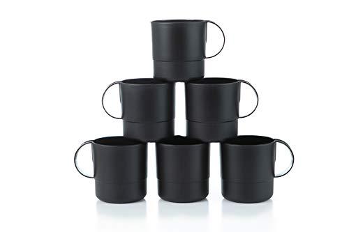 Amuse- Eco Friendly Sturdy Unbreakable & Stackable Mugs for Water, Coffee, Milk, Juice, Tea- Set of 6-11 oz (Black) (Plastic Christmas Mugs Coffee)