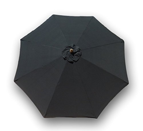 Formosa Covers Replacement Umbrella Canopy for 9ft 8 Ribs, Black Olefin (Canopy only)
