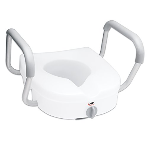 (Carex E-Z Lock Raised Toilet Seat with Handles - 5 Inch Toilet Seat Riser with Arms - Fits Most Toilets )