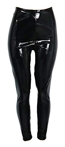 (commando Women's Faux Patent Leather Perfect Control Leggings, Black, Large)