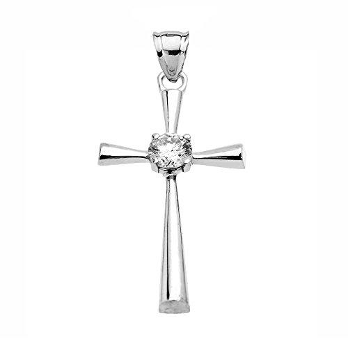 Collier Femme Pendentif Beau 14 Ct Or Blanc Solitaire Diamant Croix (Livré avec une 45cm Chaîne)