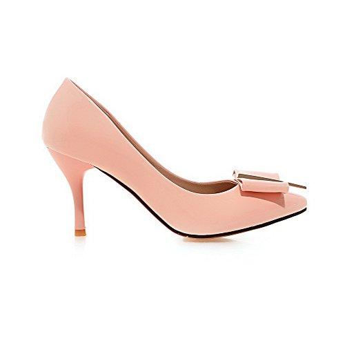 AllhqFashion Damen Spitz Schließen Zehe Stiletto Ziehen auf Rein Pumps Schuhe Pink