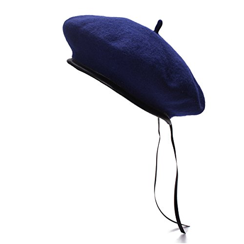 Lawliet Womens 100% Wool Solid Color Beret Cap Military Leather Sweatband T278 (Navy Blue)
