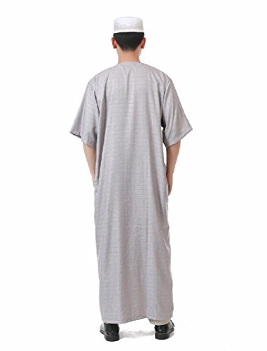 Highisa Men's Cotton Linen Blend Crew-Neck Short-Sleeve Muslim Thobe Light Grey 56 by Highisa (Image #1)