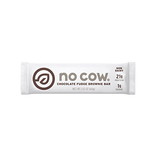 No Cow Protein Bar, Chocolate Fudge Brownie, 21g Plant Based Protein, Low Sugar, Dairy Free, Gluten Free, Vegan, 12 (Chocolate Brownie)