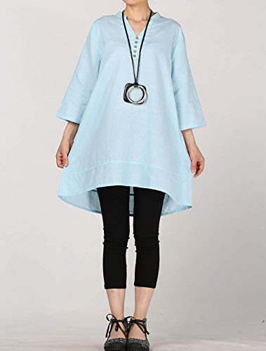 En Taille Pour Zhrui V Avec Femmes Grand Tunique Bleu Col Col couleur Haut Et TqYSRTw