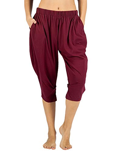 WEWINK CUKOO Women Cotton Capri Pajama Pants Cropped Lounge Pants with Pockets Harem Pants