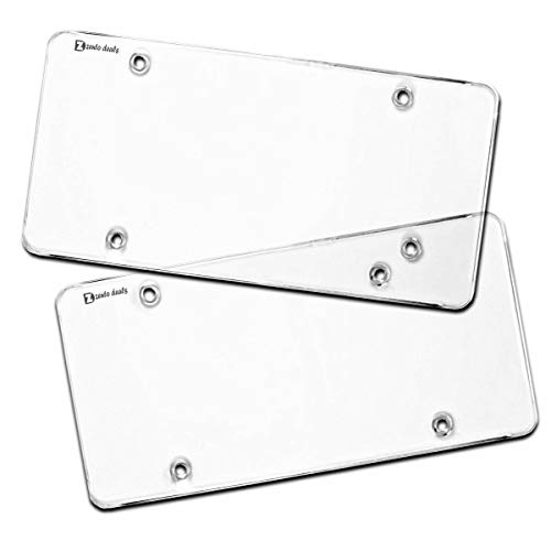 OlimP-Shop Zento Deals Flat Clear License Plate Cover - 2 Pack of Heavy-Duty Shields