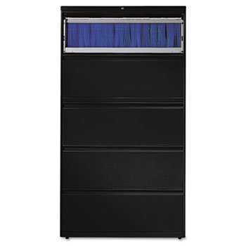 (HON 885LP 800 Series Five-Drawer Lateral File, Roll-Out/Posting Shelves, 36w x 67h, Black)
