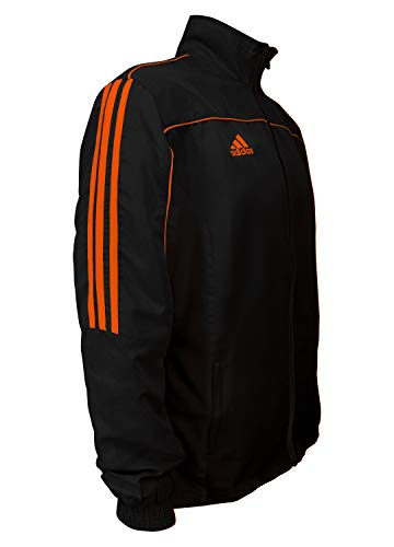 adidas Martial Arts 3-Stripes Light Tracksuit 100% Polyester Long Sleeve Jacket - Black Neon Orange - Medium