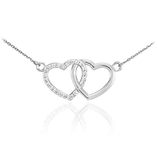 14k White Gold Double Open Heart Necklace with Diamonds (16 ()