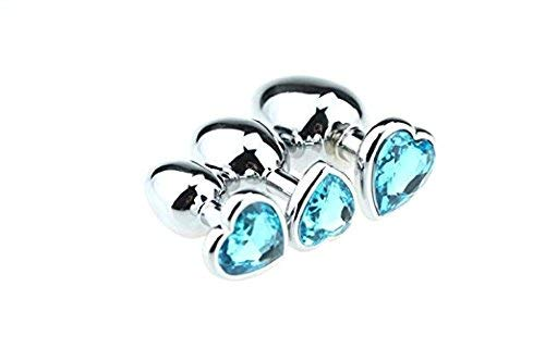 Pack of 3 Heart-Shaped Steel Jeweled Sexy Stimulation Toys Small/Medium/ Large Blue ()