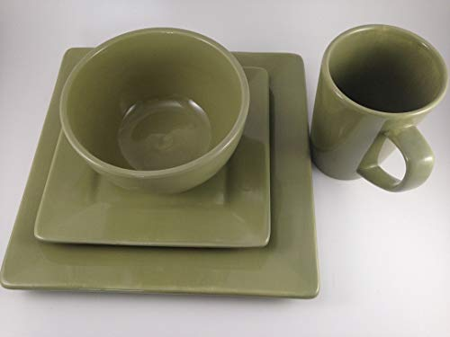 4 Piece, Dinnerware Set by Tabletops Gallery, Handcrafted Misto Series (Green Square)