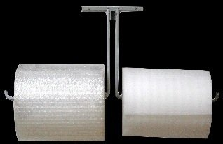 24'' Double Arm Wall Mount Bubble Wrap & Foam Cushioning Roll Dispenser by FastPack Packaging