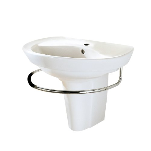 (American Standard 0268.144.020 Ravenna Wall-Mount Pedestal Sink with Center Hole, White)