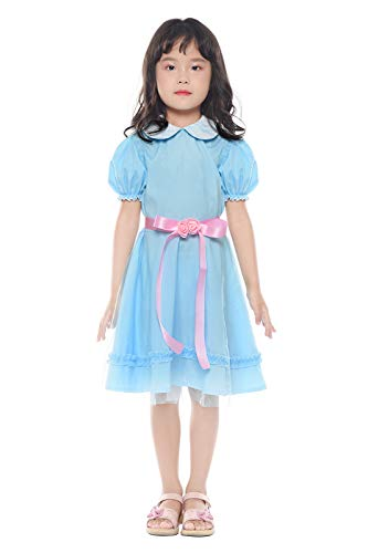 (SHANSHAN Girls Twins Chiffon Lolita Blue Dress Short Sleeve Sweet Dress for Halloween Cosplay Costume)