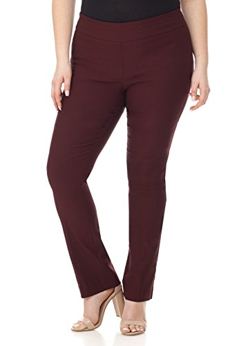 Rekucci Curvy Woman Plus Size Modern Straight Leg Pant w/Tummy Control (20WSHORT,Brick)