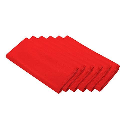 Surmente 17-Inch Polyester Cloth Napkins Linen Dinner Napkins - Set of 12 for Weddings, Banquets, or Restaurants (1-Dozen) (red) -