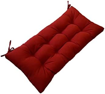 Resort Spa Home Decor Solid Red Tufted Cushion for Bench, Swing, Glider Indoor Outdoor – Choose Select Size 39 x 19