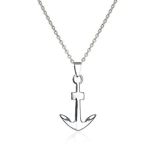 Lazycat Hope Navy Ship Anchor Shape Nautical Necklaces Wish Sea Stainless Steel Pendant (Silver)
