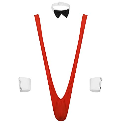 Freebily Sexy Men's Mankini Swimsuit Borat Style V Sling Thongs Jumpsuit Wrestling Singlet Suspender Bodysuit Red 3Pcs One Size]()