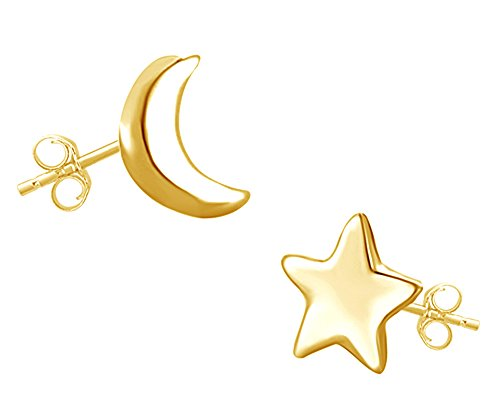 Mothers Gift 14K Yellow Gold Over Sterling Silver Asymmetric Earrings Moon And Star Lovely Charm Stud Earrings Womens