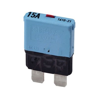 E-T-A Circuit Protection and Control 1610-21-15A , Circuit Breaker; Therm; Push; Cur-Rtg 15A; Socket; 1 Pole; Vol-Rtg 28VDC; Blade Snap