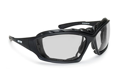 Motorcycle Goggles Padded Glasses interchangeable Arms and Strap - Antifog - Removable Clip for Prescription Lenses - by Bertoni Italy - AF366A Riding - For Riding Glasses Prescription Motorcycles