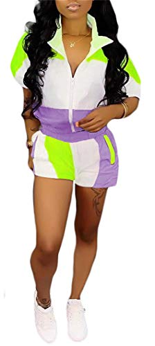 (Womens Running Two Piece Outfits Zip Up Patchwork Half Sleeve Jacket Top Shorts Pants Sets S-XXXL Purple)