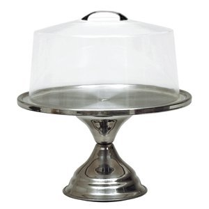 NEW, Cake Stand, Cake Display, Pie Display, Pastry Display, Stainless Steel Base, Includes Clear Acrylic Lid by -