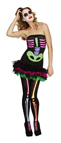 Smiffys Women's Fever Neon Skeleton Costume, Tutu Dress Neon Print and Detachable Clear Straps, Halloween, Fever, Size 10-12, -
