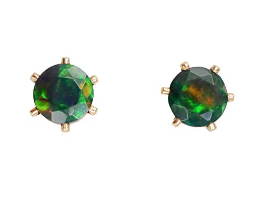 Genuine Black Opal Faceted Gemstone Gold Prong Set Stud Earring- Real Opal- 5mm ()